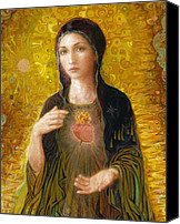 Christian Sacred Canvas Prints - Immaculate Heart of Mary Canvas Print by Smith Catholic Art