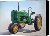 Farm Equipment Canvas Prints - John Deere Tractor Canvas Print by Hans Droog