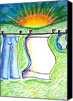 Hanging Pastels Canvas Prints - Laundry Day Canvas Print by Susan George