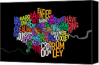United Kingdom Map Canvas Prints - London UK Text Map Canvas Print by Michael Tompsett