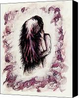 Fantasy Fairy Drawings Canvas Prints - Lovers Canvas Print by Rachel Christine Nowicki