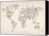 Ornamental Canvas Prints - Map of the World Map Floral Swirls Canvas Print by Michael Tompsett