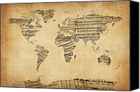 Map Of The World Digital Art Canvas Prints - Map of the World Map from Old Sheet Music Canvas Print by Michael Tompsett
