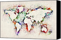 Map Canvas Prints - Map of the World Paint Splashes Canvas Print by Michael Tompsett