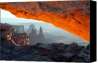 Mesa Arch Canvas Prints - Mesa arch sunrise in Canyonlands National park Canvas Print by Pierre Leclerc