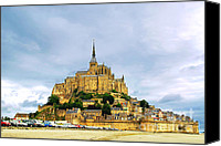 Breton Canvas Prints - Mont Saint Michel Canvas Print by Elena Elisseeva