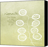 Beige Canvas Prints - Namaste Canvas Print by Linda Woods