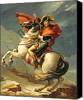 Glove Painting Canvas Prints - Napoleon Crossing the Alps on 20th May 1800 Canvas Print by Jacques Louis David