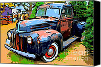 Old American Truck Canvas Prints - Nostalgic Rusty Old Truck . 7D10270 Canvas Print by Wingsdomain Art and Photography