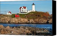 Nubble Light Canvas Prints - Nubble Lighthouse Canvas Print by John Greim