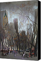 People Pastels Canvas Prints - NYC Central Park Canvas Print by Ylli Haruni
