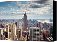 New York Skyline Canvas Prints - NYC Empire Canvas Print by Nina Papiorek