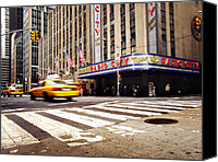 Taxi Canvas Prints - NYC Radio City Music Hall Canvas Print by Nina Papiorek