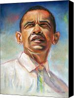 Black Pastels Canvas Prints - Obama 08 Canvas Print by Dennis Rennock