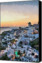 Thira Canvas Prints - Oia town during sunset Canvas Print by George Atsametakis