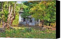 Log Cabins Canvas Prints - Old Log Cabin Canvas Print by C Wayne Hennebert