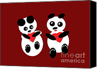 Baby Panda Canvas Prints - 2 Pandas In Love Canvas Print by Ausra Paulauskaite