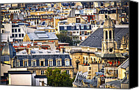 House Canvas Prints - Paris rooftops Canvas Print by Elena Elisseeva