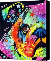Colorful Print Canvas Prints - Peeking Bulldog Canvas Print by Dean Russo