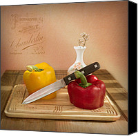 Peppers Canvas Prints - 2 Peppers and Knife Canvas Print by Ian Barber