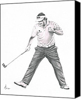 Pencil Drawing Canvas Prints - Phil Mickelson Canvas Print by Murphy Elliott