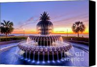 Palm Trees Canvas Prints - Pineapple Fountain Charleston SC Sunrise Canvas Print by Dustin K Ryan