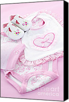 Presents Canvas Prints - Pink baby clothes for infant girl Canvas Print by Elena Elisseeva