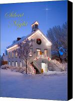 Snowy Night Canvas Prints - Pioneer Church at Christmas Time Canvas Print by Utah Images