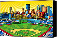 Baseball Art Canvas Prints - PNC Park gold sky Canvas Print by Ron Magnes