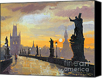 Charles Bridge Canvas Prints - Prague Charles Bridge 01 Canvas Print by Yuriy  Shevchuk
