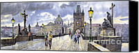 Charles Bridge Canvas Prints - Prague Charles Bridge Canvas Print by Yuriy  Shevchuk
