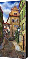 Old Drawings Canvas Prints - Prague Old Street Canvas Print by Yuriy  Shevchuk