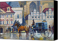 Carriage Canvas Prints - Prague Old Town Square 01 Canvas Print by Yuriy  Shevchuk