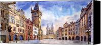 Watercolour Canvas Prints - Prague Old Town Square Canvas Print by Yuriy  Shevchuk