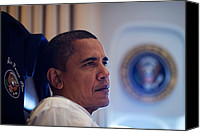 Barack Canvas Prints - President Barack Obama Listens Canvas Print by Everett
