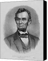 United States Drawings Canvas Prints - President Lincoln Canvas Print by War Is Hell Store