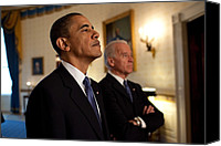 Joe Biden Canvas Prints - President Obama And Vp Biden Canvas Print by Everett