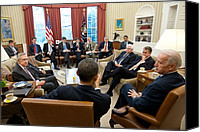 Bswh052011 Canvas Prints - President Obama And Vp Joe Biden Meet Canvas Print by Everett