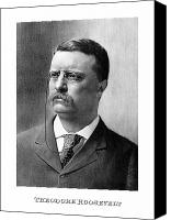 American Drawings Canvas Prints - President Theodore Roosevelt Canvas Print by War Is Hell Store