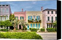 House Photo Canvas Prints - Rainbow Row Canvas Print by Drew Castelhano