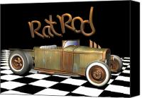 Custom Ford Digital Art Canvas Prints - Rat Rod 2 Canvas Print by Stuart Swartz