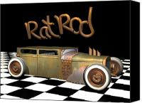 Custom Ford Digital Art Canvas Prints - Rat Rod Sedan Canvas Print by Stuart Swartz