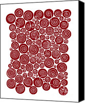 Spiral Drawings Canvas Prints - Red Abstract Canvas Print by Frank Tschakert