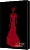 Sketch Drawings Canvas Prints - Red Dress Canvas Print by Frank Tschakert