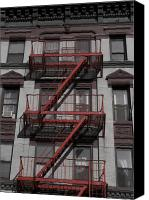 Nyc Fire Escapes Canvas Prints - 2 Red Zs Canvas Print by Henri Irizarri