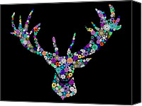 Seasonal Canvas Prints - Reindeer Design By Snowflakes Canvas Print by Setsiri Silapasuwanchai