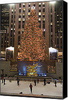 Skating Canvas Prints - Rockefeller Center And The Famous Canvas Print by Taylor S. Kennedy