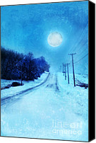 Snowy Night Canvas Prints - Rural Road in Winter Canvas Print by Jill Battaglia