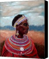 Black Family Pastels Canvas Prints - Samburu Woman Canvas Print by Carol McCarty