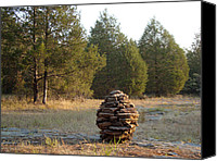 Cedar Canvas Prints - Sandstone Cairn nature art Sculpture Canvas Print by Adam Long